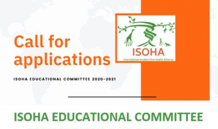 """""""Call for Application"""" Opportunity to be International Student One Health Alliance (ISOHA) Educational Committee 2020-2021."""